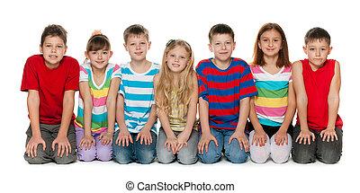 podłoga, dzieci, posiedzenie