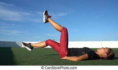 podłoga, wartość bezwzględna, ab, ruch stosowności, trening, kobieta, nożycowy