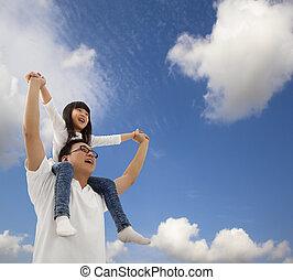 pod, córka, cloudfield, ojciec, asian