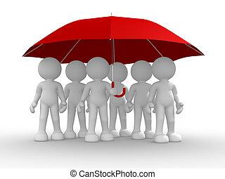 pod, parasol, ludzie, grupa
