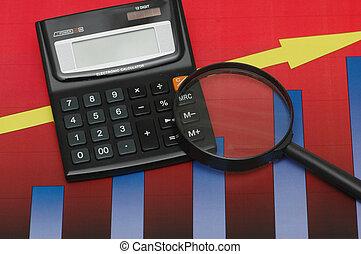 pod, -, wyniki, wykresy, badanie, handlowy, kalkulator