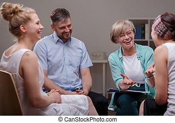 podczas, terapeuta, grupa, spotkanie