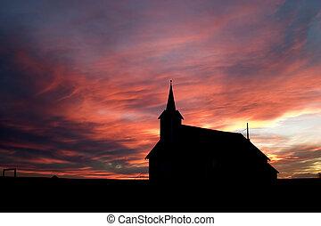 podczas, zachód słońca, kościół