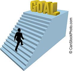 podejścia, osoba, achiev, kroki, handlowy