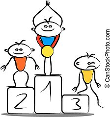 podium, zwycięski