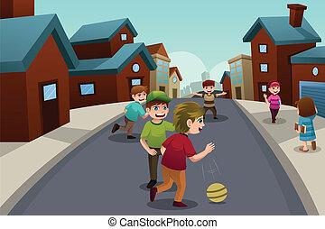 podmiejski, dzieciaki, sąsiedztwo ulica, interpretacja