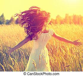 podmuchowy, piękno, zdrowy, kudły, pole, wyścigi, dziewczyna
