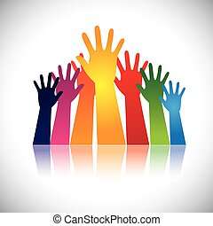 podniesiony, barwny, abstrakcyjny, vectors, razem, ręka, jedność, pokaz