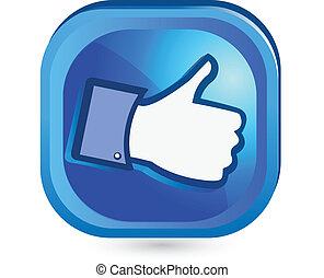 podobny, guzik, to, do góry, facebook, kciuk