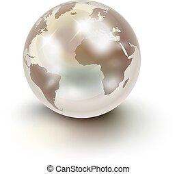 podobny, na, perła, ziemia, drogocenny, biały