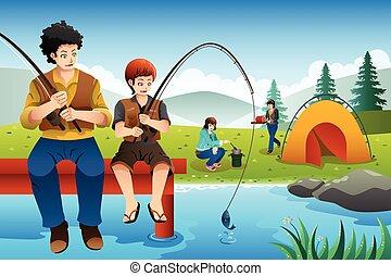 podróż, chodzenie, rodzina kemping, wędkarski