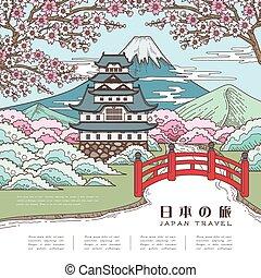 podróż, japonia, pociągający, afisz