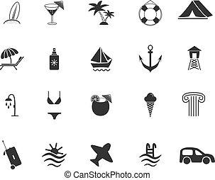 podróż, komplet, plaża, ikony