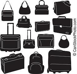 podróż, mnóstwo, zbiór, walizki