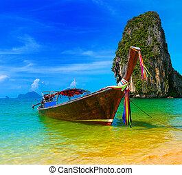podróż, natura, tradycyjny, plażowe uciekanie się, łódka, tajlandia, raj, piękny, drewniany, wyspa, niebo, lato, tropikalny, błękitny, krajobraz, krajobraz, woda