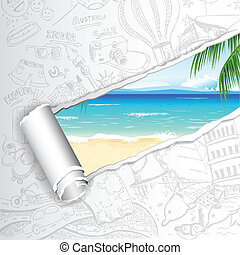 podróż, plaża, tło, morze