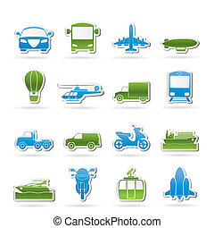podróż, przewóz, ikony