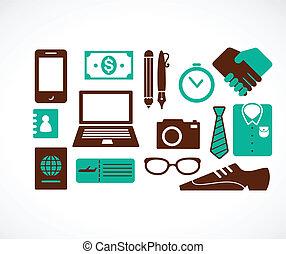 podróż, zbiór, handlowe ikony