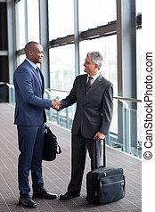 podróżnicy, lotnisko, spotkanie, handlowy