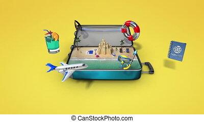 podróżowanie, urlop, torba, otworzony