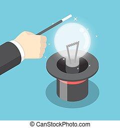 podstęp, isometric, magia, ustalać, korzystać, ręka, idea., biznesmen