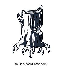 podstawy, drwal, drewno, logo, budulec, pniak