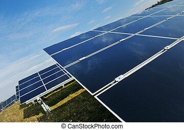 poduszeczka, pole, energia, słoneczny, odnawialny