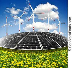 poduszeczki, energia, turbiny, słoneczny, wiatr
