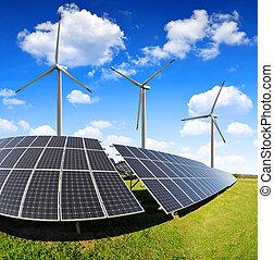 poduszeczki, turbines., słoneczny, wiatr