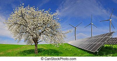 poduszeczki, turbiny, słoneczny, wiatr