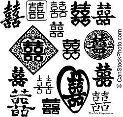 podwójny, chińczyk, szczęście