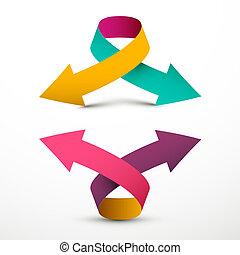 podwójny, do góry, symbol., na dół, wektor, strzała, arrows., logo, 3d