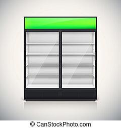 podwójny, door., lodówka, szkło