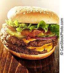 podwójny, fabryka, bekon, hamburger