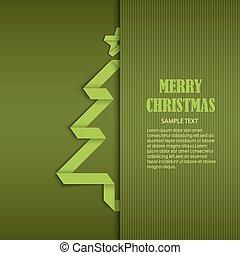 podwijany, drzewo, fałdowy, papier, zielony, szablon, kartka na boże narodzenie