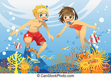 podwodny, dzieciaki, pływacki