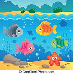 podwodny, fauna, 2, temat, ocean
