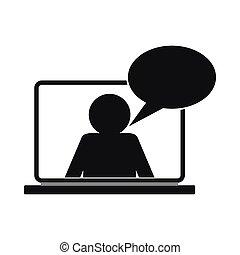 pogawędka, online, prosty, ikona, styl