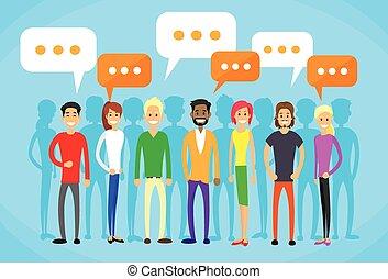 pogawędka, sieć, ludzie, komunikacja, grupa, płaski, towarzyski