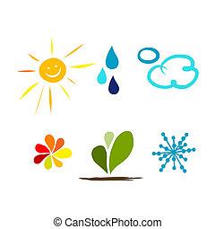 pogoda, projektować, twój, ikony