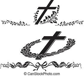 pogrzeb, wieniec, krzyż