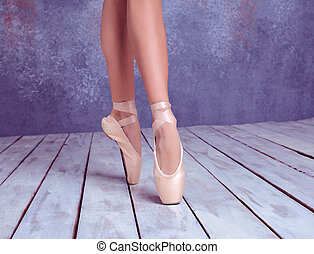 pointe, feet, młody, balerina, obuwie
