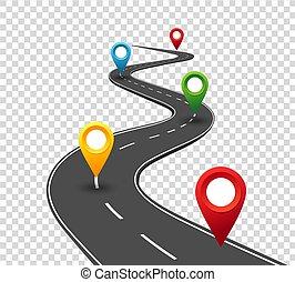 pointers., podróż, handlowy, droga, meandrowy, infographics., powodzenie, postęp, pojęcie, szpilka, way.