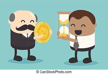 pojęcia, businessman., czas, life., najbardziej, afrykanin, rzeczy, ważny, handlarski