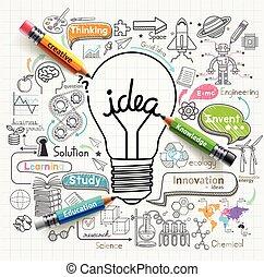 pojęcia, lightbulb, doodles, ikony, set., pojęcie