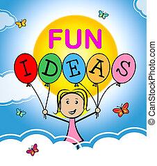 pojęcia, planowanie, zabawa, szczęśliwy, myśleć, widać