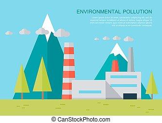 pojęcie, środowiskowy, wektor, skażenie, banner.