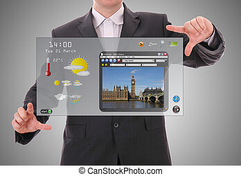 pojęcie, światowy graficzny, robiony, użytkownik, cyfrowy, interfejs, biznesmen, prezentacja, futurystyczny