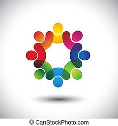 pojęcie, abstrakcyjny, wykonawca, dzieci, personel, reputacja, ikony, pracownicy, circle., również, barwny, graficzny, spotkanie, dyskusje, wyobrażenia, sztubacy, to, pracownicy zjednoczenie, etc, wektor, albo