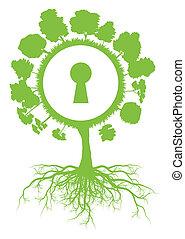pojęcie, afisz, kula, drzewo, wektor, ekologia, tło, świat, dziurka od klucza, podstawy